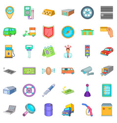 Parking auto icons set cartoon style vector