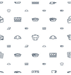 Pastry icons pattern seamless white background vector