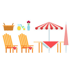 picnic furniture set icon flat isolated vector image