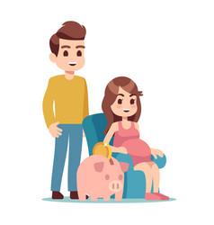 pregnant woman man and piggy bank saving money vector image