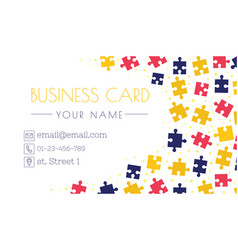 Puzzle business card template creativity and vector image colourmoves