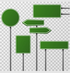 Realistic blank green street and road signs vector