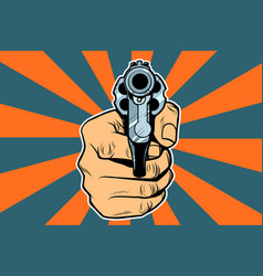 Revolver in hand vector