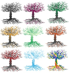 Scraggly Trees Silhouette vector
