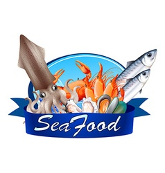 Seafood label with assorted seafood vector image