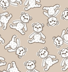 Seamless Baby Background with teddy bear vector image