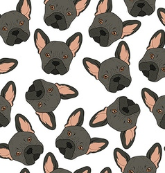 Seamless background with cute black bulldog sketch vector