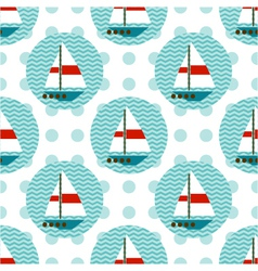 seamless pattern with sailboats on the waves vector image