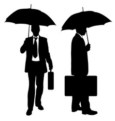 set of businessmen with umbrellas vector image