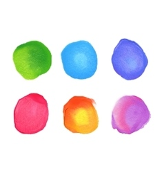 Set of rainbow watercolor circles stains vector