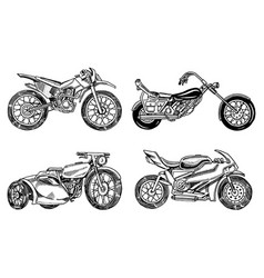 set of vintage motorcycles collection of bicycles vector image