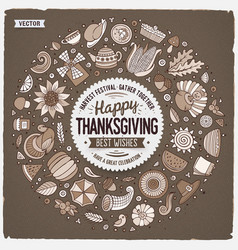 set thanksgiving cartoon doodle objects vector image