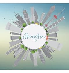 Shanghai Skyline with Blue Sky vector image