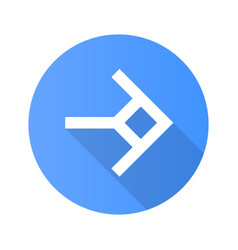 Shaped arrow flat design long shadow glyph icon vector