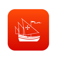 ship of columbus icon digital red vector image