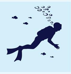 silhouette scuba diver swimming in water vector image