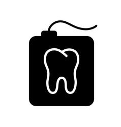 silhouette teeth floss in rectangular case vector image