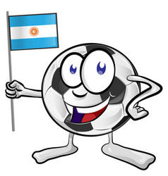 soccer ball cartoon with argentina flag vector image