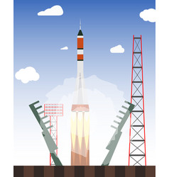 start rocket from the spaceport launch raekty in vector image