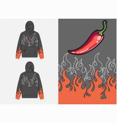 Streetwear graphic design fire chilli vector