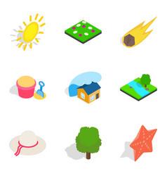 Sunshine icons set isometric style vector