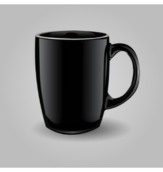 Template ceramic clean black mug vector
