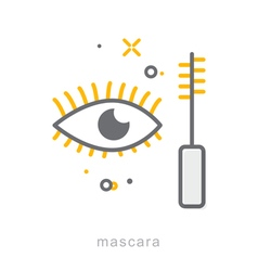 Thin line icons Mascara vector