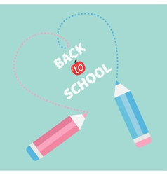 Two pencils dash heart Blue Back to school vector