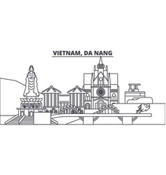 vietnam da nang line skyline vector image
