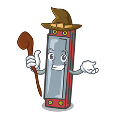 Witch harmonica mascot cartoon style vector