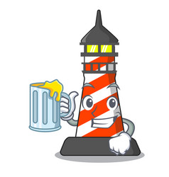 with juice lighthouse on the beach mascot vector image
