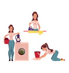 woman housewife doing chores - ironing washing vector image