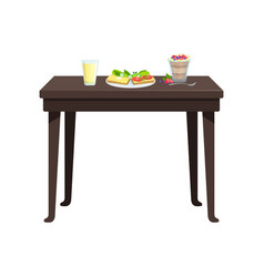 Wooden table with drinks and sandwiches on a plate vector