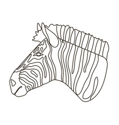 zebra icon in outline style isolated on white vector image
