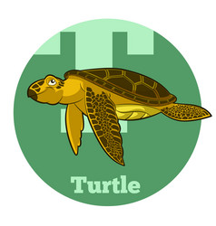 Abc cartoon turtle vector