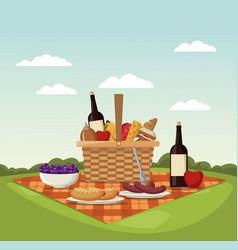color scene landscape of picnic basket and vector image