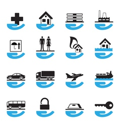 Diverse insurance icons set vector image
