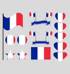 france flag set collection of symbols flag vector image vector image