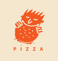 logo for pizza restaurant with man who eats pizza vector image vector image