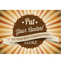 Old brown round retro vintage label vector image