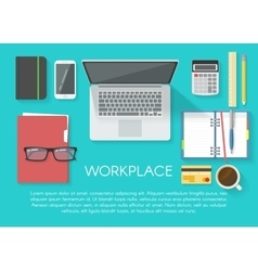 Workspace Flat Poster vector image