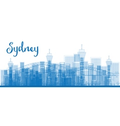 Abstract Outline Sydney City skyline vector image vector image