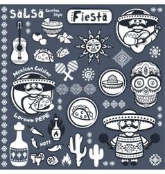 Set of Mexican symbols vector image vector image