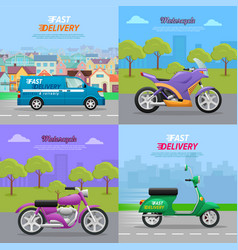 set of vehicle icons fast delivery motorcycle vector image