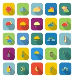 Weather color icons with long shadow vector image vector image