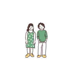 a boy and a girl are standing and smiling modestly vector image