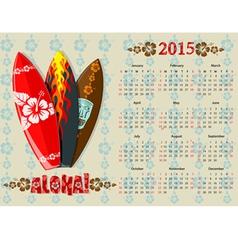 aloha kalendar 15 vector image vector image