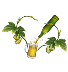 beer mug hop green beer bottle vector image