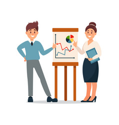 business people explaining information graphics on vector image vector image