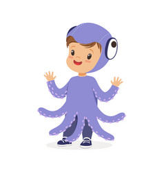 cute happy little kid dressed as a purple octopus vector image vector image